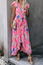 Rose Floral High Low Pocketed Tie Maxi kjole