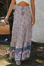 Blue Boho Floral Print Elastis Pinggang Tinggi Lipit A Line Maxi Skirt