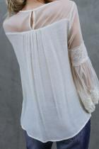 أزياء بيضاء فانوس الأكمام الدانتيل المرقعة الأعلى