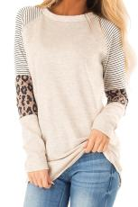 Top a maniche color block a righe e leopardo color kaki