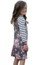 Grå Forår Fling Blomstret Stripet Ærme Kort Kjole til Børn