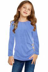 Himmelblå, små piger, langærmet knap med sidetop