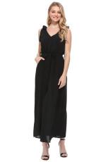 Μαύρο λουράκι τσέπης τσάντα φόρεμα Jersey φόρεμα με ζώνη