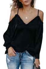 Black Ruffle V Neck Off Shoulder Spaghetti Strap Shirt