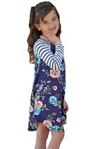 Blå Spring Fling Floral Striped Sleeve Short Dress til Kids