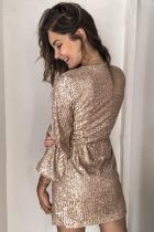 Abrikos Sequin Wrap kjole med bånd