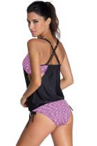 Purple Layered-Style painettu Tankini, jossa on kolmionmuotoiset alushousut