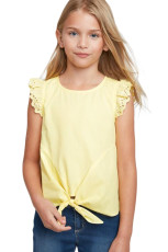 Yellow Eyelet Sleeve Tie-front Top
