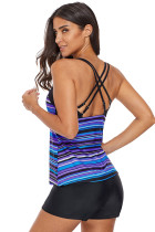 آبی بنفش دوزی Strappy Back Tankini Top