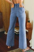 Himmelblå flared jeans med høy midje