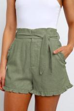 Pantaloni scurți cu talie înaltă cu șifonat verde