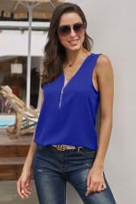 Sininen Zip Neckline Hihaton paita Tank