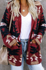 Red Moraga Pocketed Aztec Cardigan