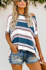 Μπλε Άσπρο Ροζ Χρώμα Κορδέλα Εκτύπωση Loose Shirt