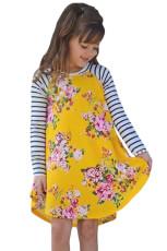 Gul Forår Fling Floral Striped Ærme Kort Kjole til Kids