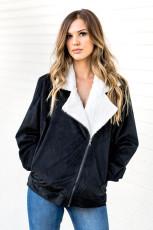 Svart fold over krage glidelås vanlig jakke