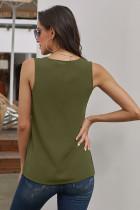 Vihreä Zip Neckline Hihaton paita Tank