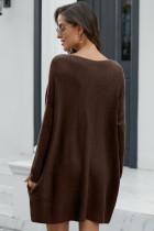 Brun overdimensjonert batwing erme genser kjole