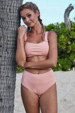 Vaaleanpunainen Ribbed Knit Sports Bra korkean vyötärön bikinit