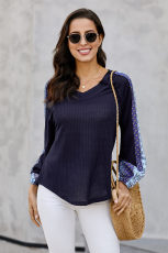 Blue Always Moving Forward Multi Print Sleeve Top