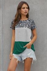 Πράσινο Block Ριπλωμένο και Leopard Κοντό μανίκι T-shirt