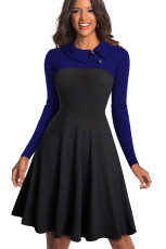 Blue Vintage Turn-Down Collar Pinup Button A-Line Dress