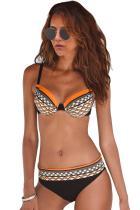 Orange Boho Tribal Print Bikini badetøj
