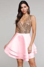 Heart Broken Pink Gold Sequin Multi Layer Skater Kjole