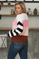 Pink Crew Neck Color Block Oversized Pullover Strikket genser