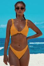 Keltainen solmittu kaksiosainen bikini-uimapuku