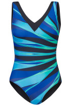 Sky Blue Plus Størrelse Striped Print V Neck Maillot Badedragt