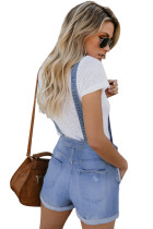 Light Blue Denim Stretch Cotton Short Overalls
