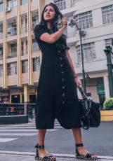 Musta kesän painettu rento paita Maxi mekko