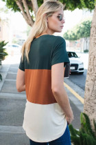 Orange farveblok V-hals T-shirt