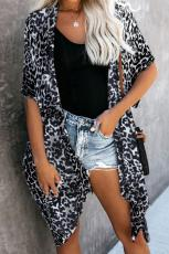 Black Born To Out Out Leopard Kimono