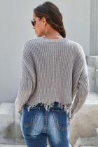 Grey Tainted Love Cotton Distressed Sweater