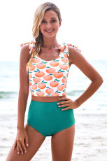 Apple Print Shoulder Tie Tankini badedragt