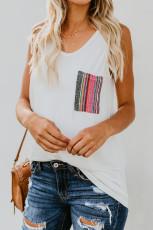 Hvid afslappet kvinders tank top med flerfarvet lomme