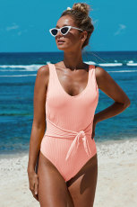 Pink Scoop Neck Tie Talje Ribbed Women Maillot