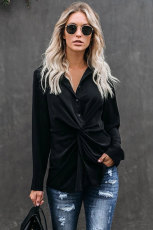 Bluză neagră cu nasturi în jos