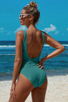 Green Scoop Neck Tie Waist Ribbed Women Maillot