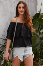 Sort blød brise Frilling Off-shoulder Top