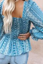Sky Blue Bohemian çap bikin Shirred Bodice Tunic Top