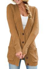 Cardigan Pocket û Bişkojkên Berbiçav Khaki