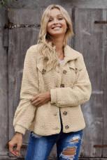 Khaki Sherpa Button Up langærmet jakke