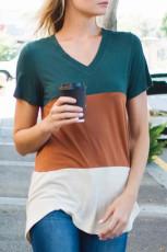 Tricou cu guler în culoarea portocalie Block Block
