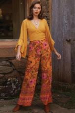Разноцветные брюки палаццо