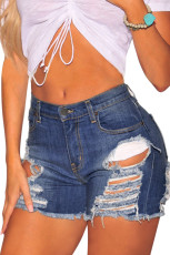 Denim Ripped distruse pantaloni de talie mare