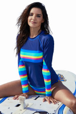 Rainbow Striped Navy Cu maneca lunga Tankini costum de baie