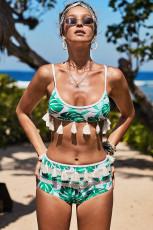 Bikini a vita alta con stampa tropicale bianca e nappa